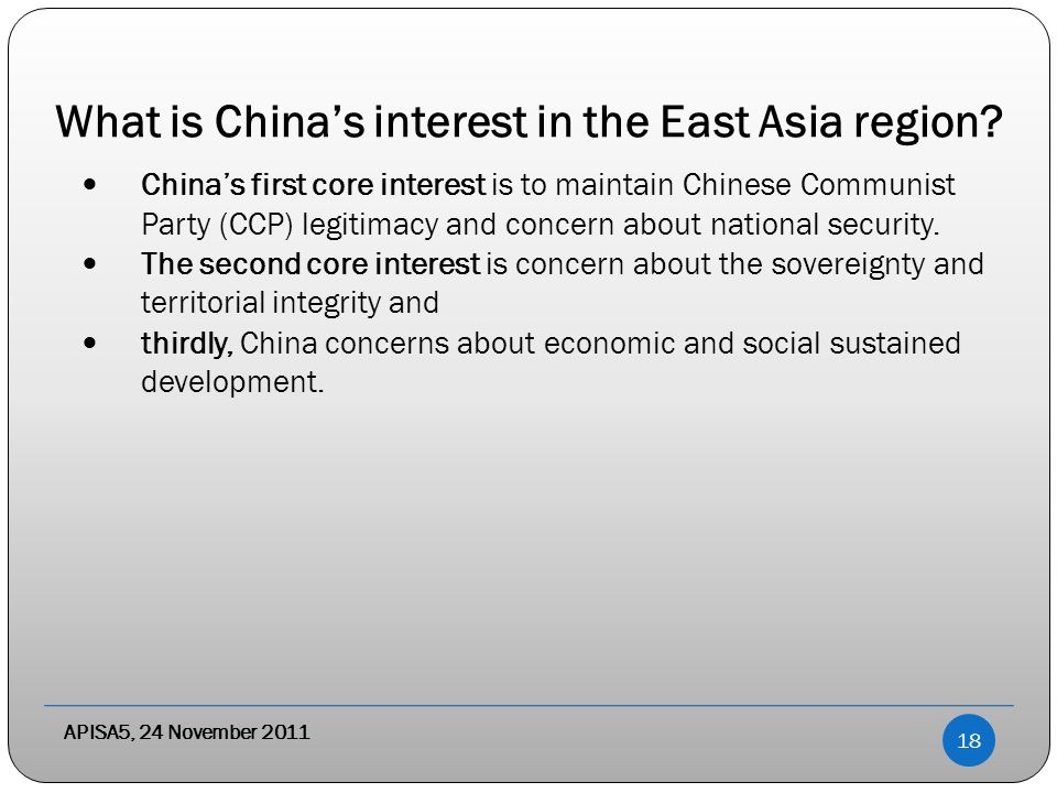 What is China's interest in the East Asia region.