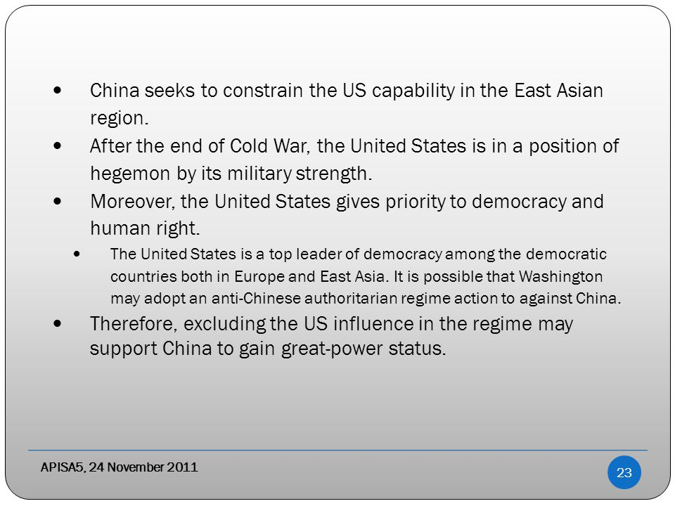 APISA5, 24 November 2011 China seeks to constrain the US capability in the East Asian region.
