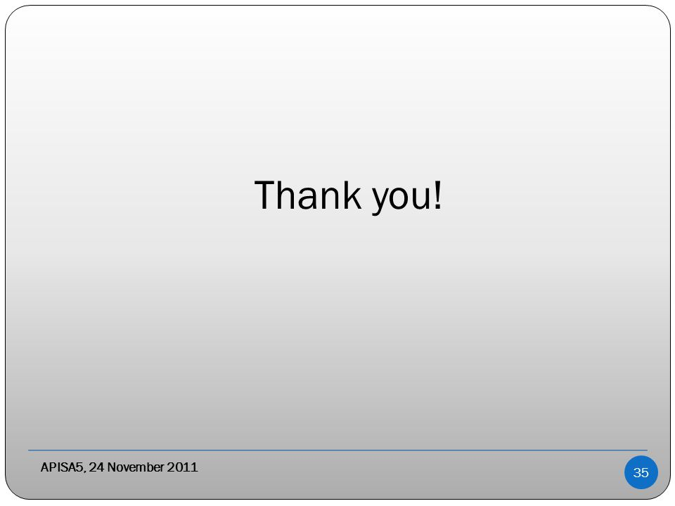 APISA5, 24 November 2011 Thank you! 35