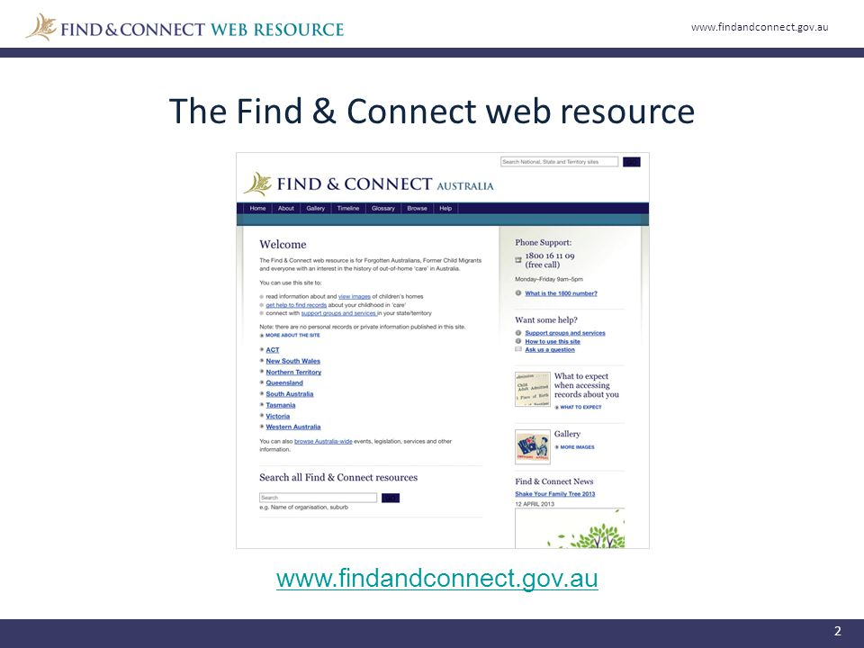 The Find & Connect web resource www.findandconnect.gov.au 2