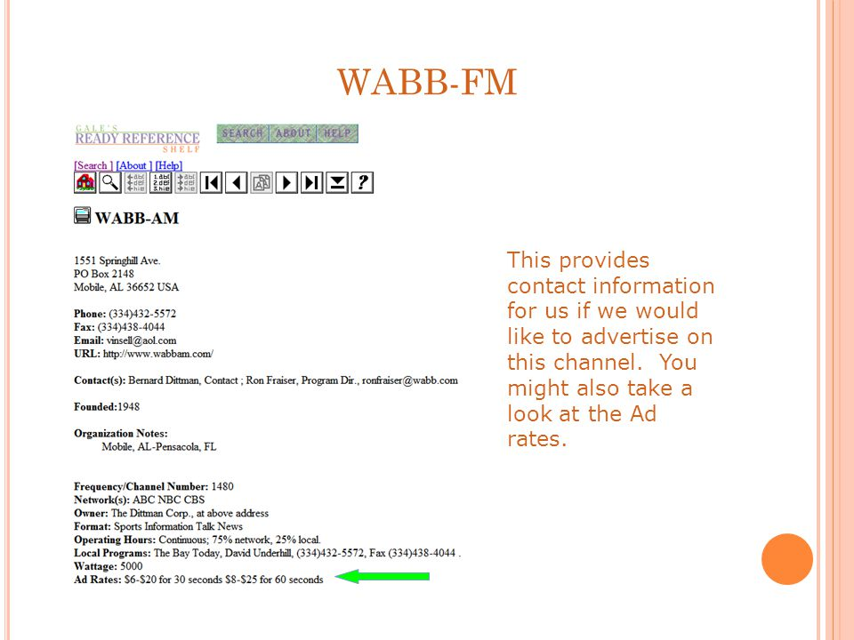 WABB-FM This provides contact information for us if we would like to advertise on this channel.