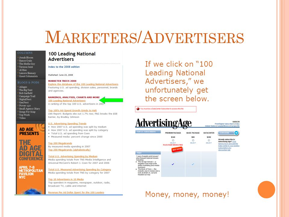 M ARKETERS /A DVERTISERS If we click on 100 Leading National Advertisers, we unfortunately get the screen below.