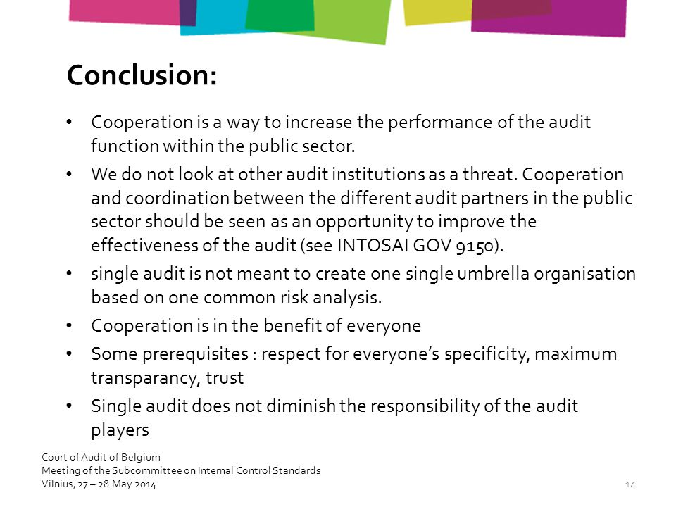 Conclusion: Cooperation is a way to increase the performance of the audit function within the public sector.
