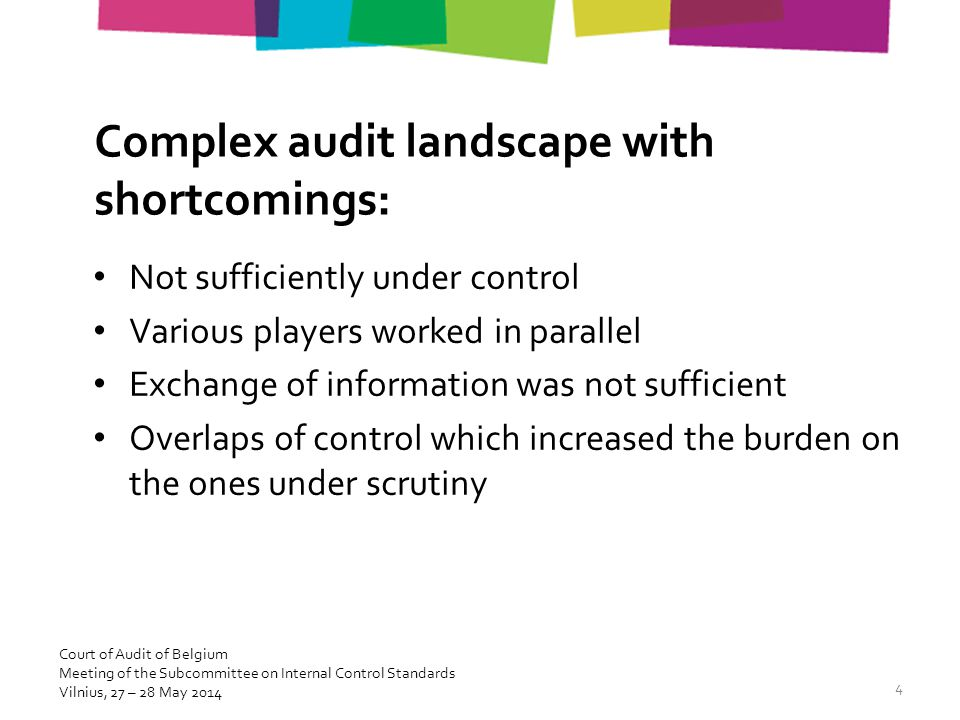 Complex audit landscape with shortcomings: Not sufficiently under control Various players worked in parallel Exchange of information was not sufficien