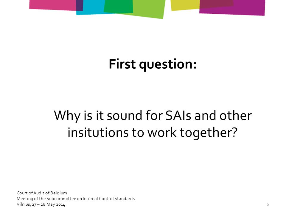 First question: Why is it sound for SAIs and other insitutions to work together.