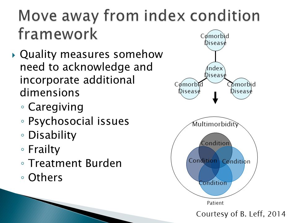  Quality measures somehow need to acknowledge and incorporate additional dimensions ◦ Caregiving ◦ Psychosocial issues ◦ Disability ◦ Frailty ◦ Treat