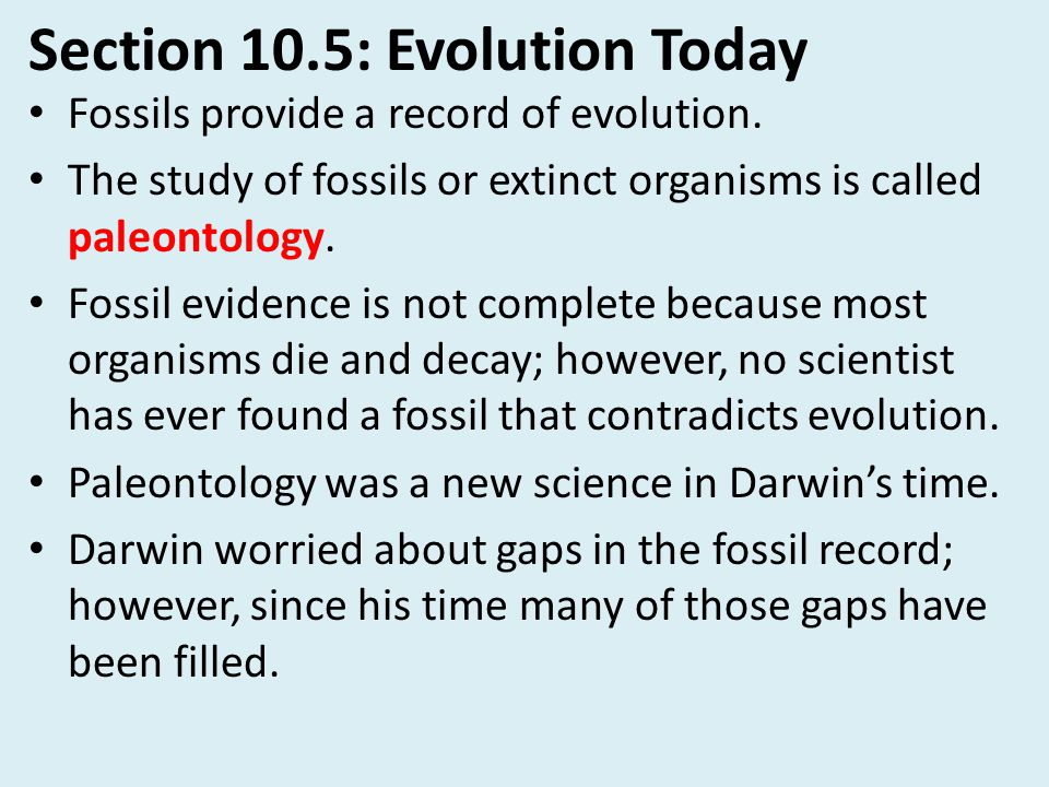 Section 10.5: Evolution Today Fossils provide a record of evolution. The study of fossils or extinct organisms is called paleontology. Fossil evidence