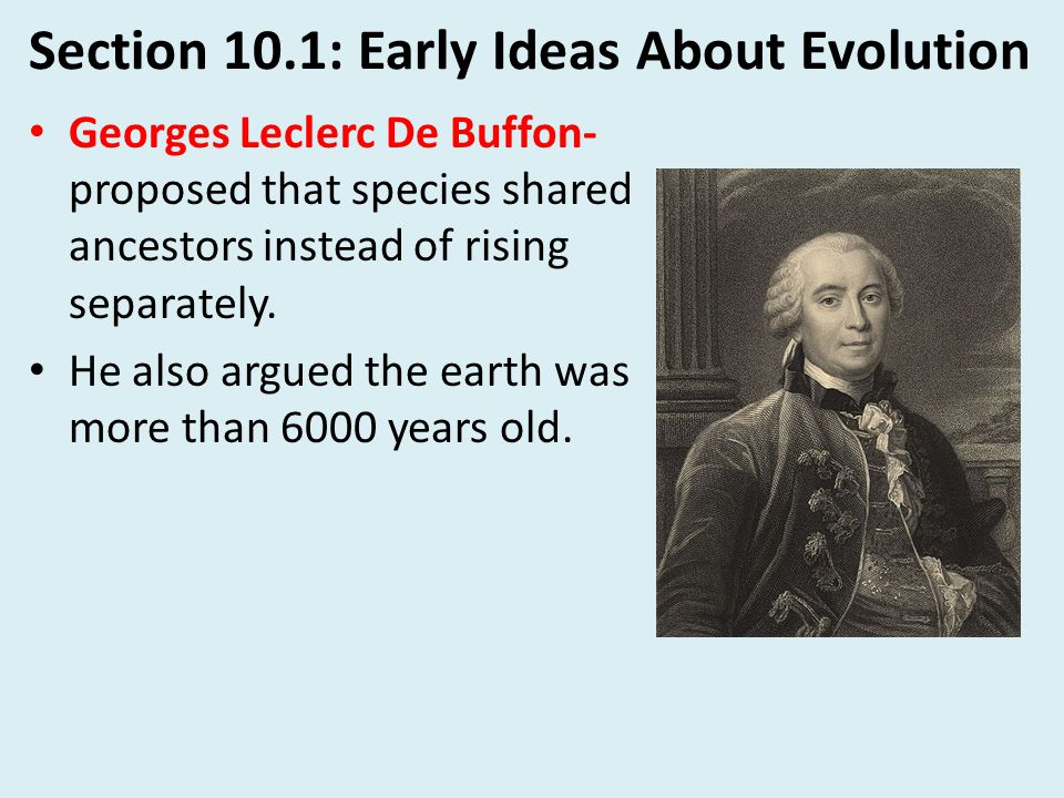 Section 10.1: Early Ideas About Evolution Erasmus Darwin- Grandfather of Charles Darwin.