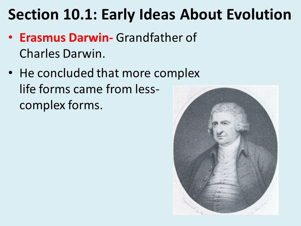 Section 10.1: Early Ideas About Evolution Jean-Baptiste Lamarck- Early 1800's proposed that all organisms evolved towards perfection and complexity.