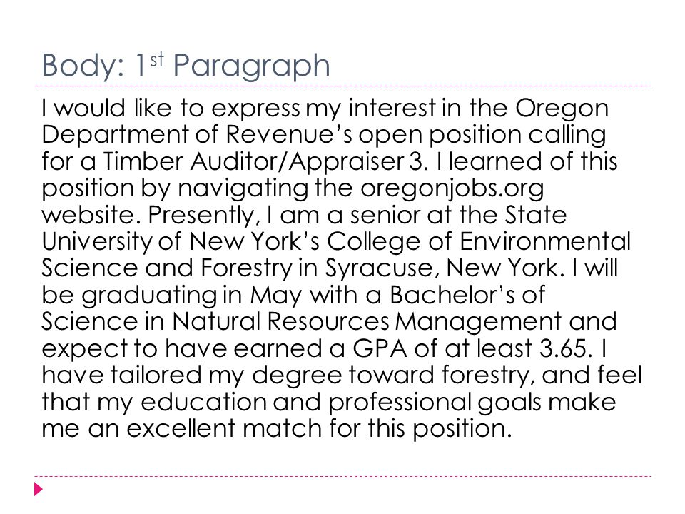 Body: 2 nd Paragraph My education at SUNY-ESF has focused heavily on the management of forested ecosystems in both the theoretical and practical arenas.