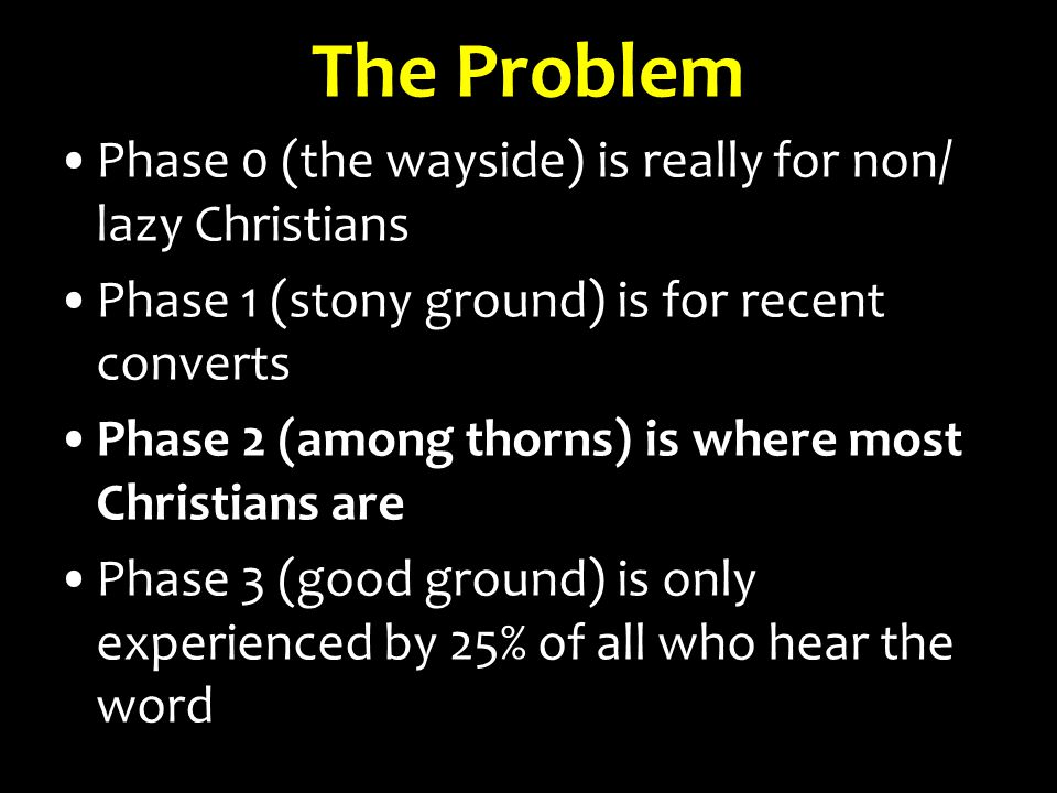 Phase 0 (the wayside) is really for non/ lazy Christians Phase 1 (stony ground) is for recent converts Phase 2 (among thorns) is where most Christians
