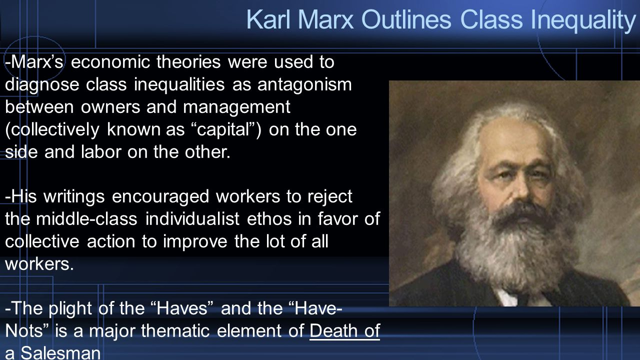 Karl Marx Outlines Class Inequality -Marx's economic theories were used to diagnose class inequalities as antagonism between owners and management (co