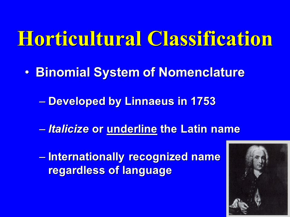 Horticultural Classification Binomial System of NomenclatureBinomial System of Nomenclature –Developed by Linnaeus in 1753 –Italicize or underline the Latin name –Internationally recognized name regardless of language