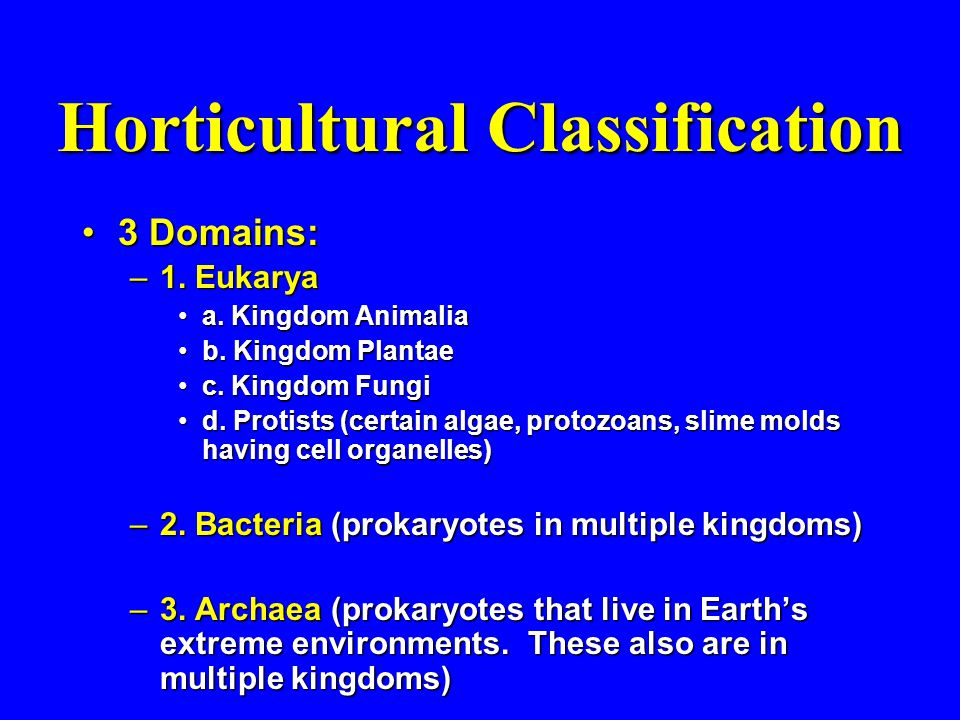 Horticultural Classification 3 Domains:3 Domains: –1.