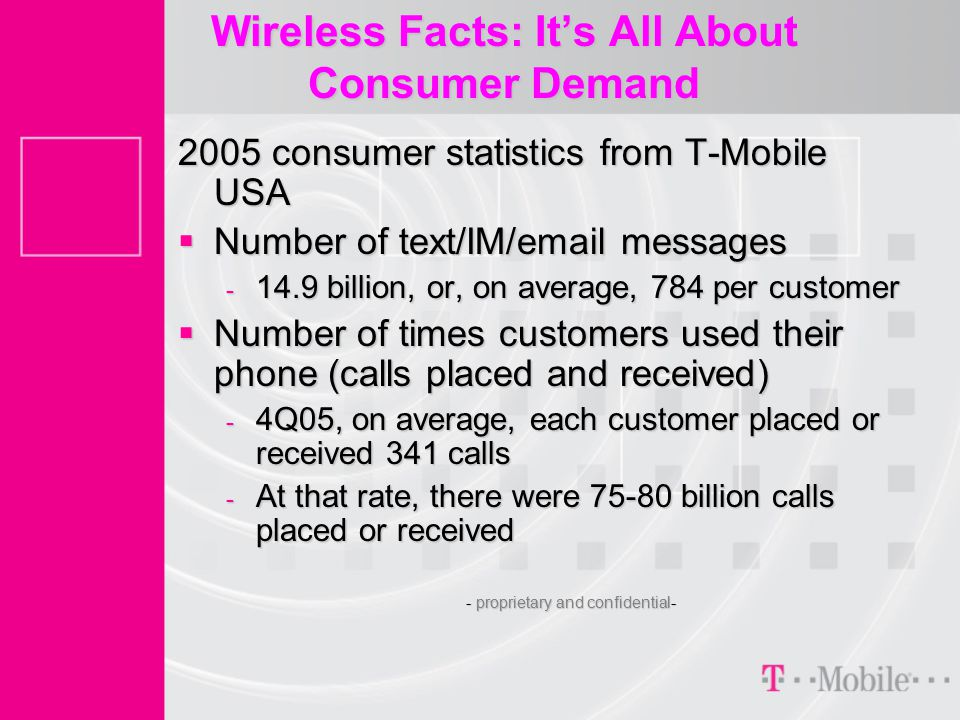 Wireless Facts: It's All About Consumer Demand 2005 consumer statistics from T-Mobile USA  Number of text/IM/email messages - 14.9 billion, or, on average, 784 per customer  Number of times customers used their phone (calls placed and received) - 4Q05, on average, each customer placed or received 341 calls - At that rate, there were 75-80 billion calls placed or received - proprietary and confidential-
