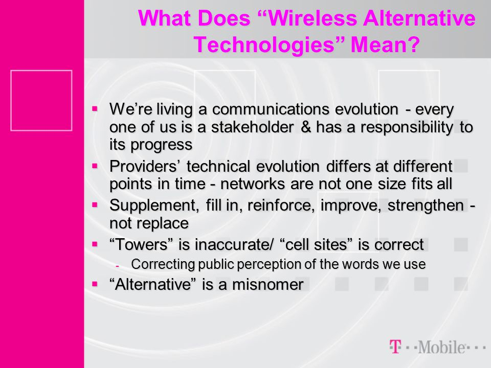 What Does Wireless Alternative Technologies Mean.