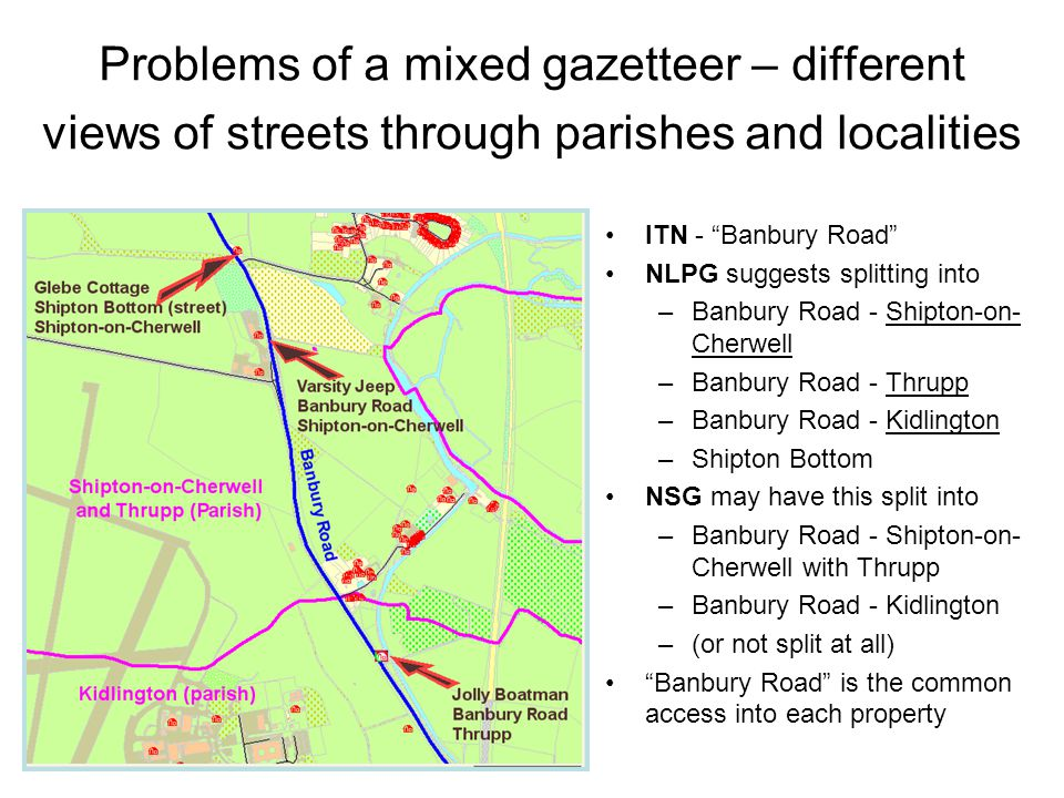 Problems of a mixed gazetteer – different views of streets through parishes and localities ITN - Banbury Road NLPG suggests splitting into –Banbury Road - Shipton-on- Cherwell –Banbury Road - Thrupp –Banbury Road - Kidlington –Shipton Bottom NSG may have this split into –Banbury Road - Shipton-on- Cherwell with Thrupp –Banbury Road - Kidlington –(or not split at all) Banbury Road is the common access into each property