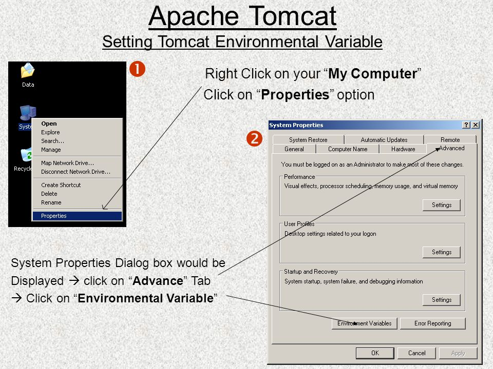 """Right Click on your """"My Computer"""" Click on """"Properties"""" option System Properties Dialog box would be Displayed  click on """"Advance"""" Tab  Click on """"En"""