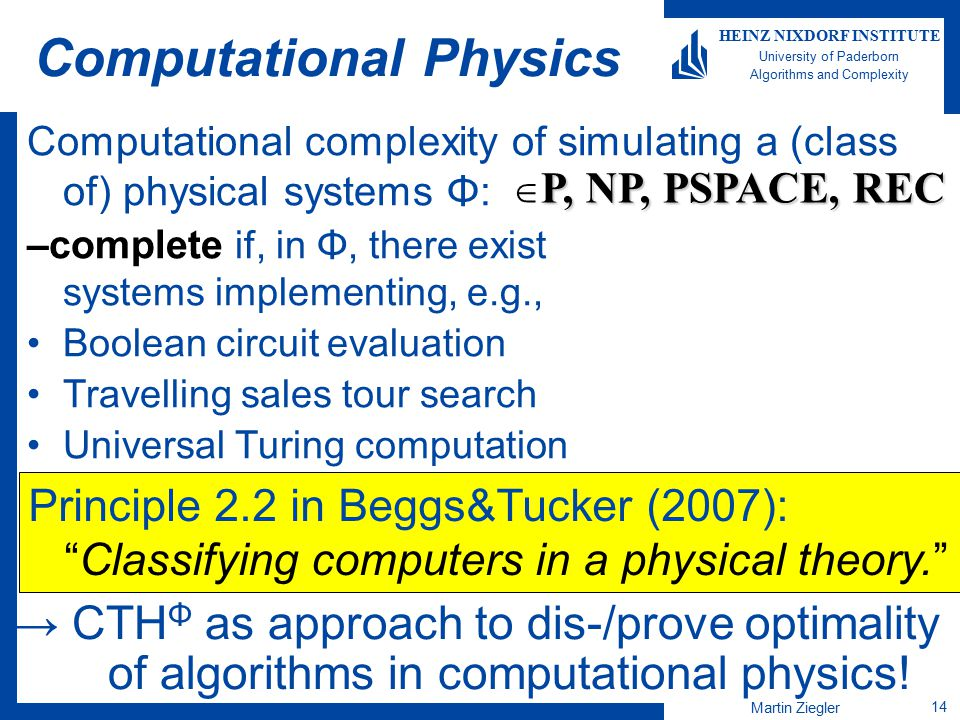Martin Ziegler 14 HEINZ NIXDORF INSTITUTE University of Paderborn Algorithms and Complexity Computational Physics Computational complexity of simulati