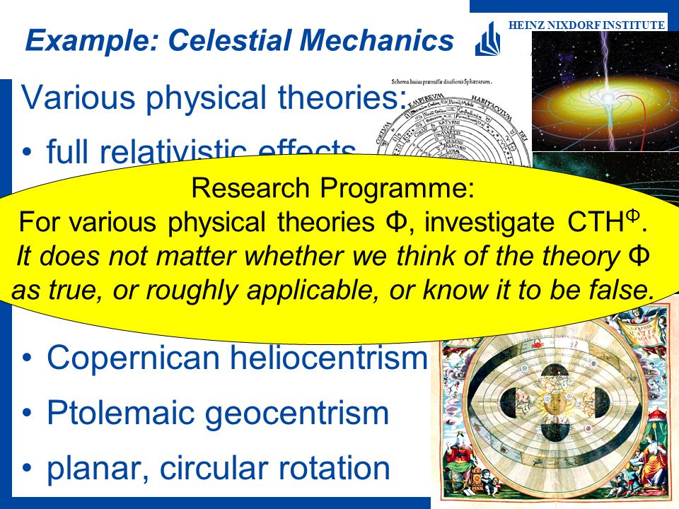 Martin Ziegler 16 HEINZ NIXDORF INSTITUTE University of Paderborn Algorithms and Complexity Example: Celestial Mechanics Various physical theories: fu