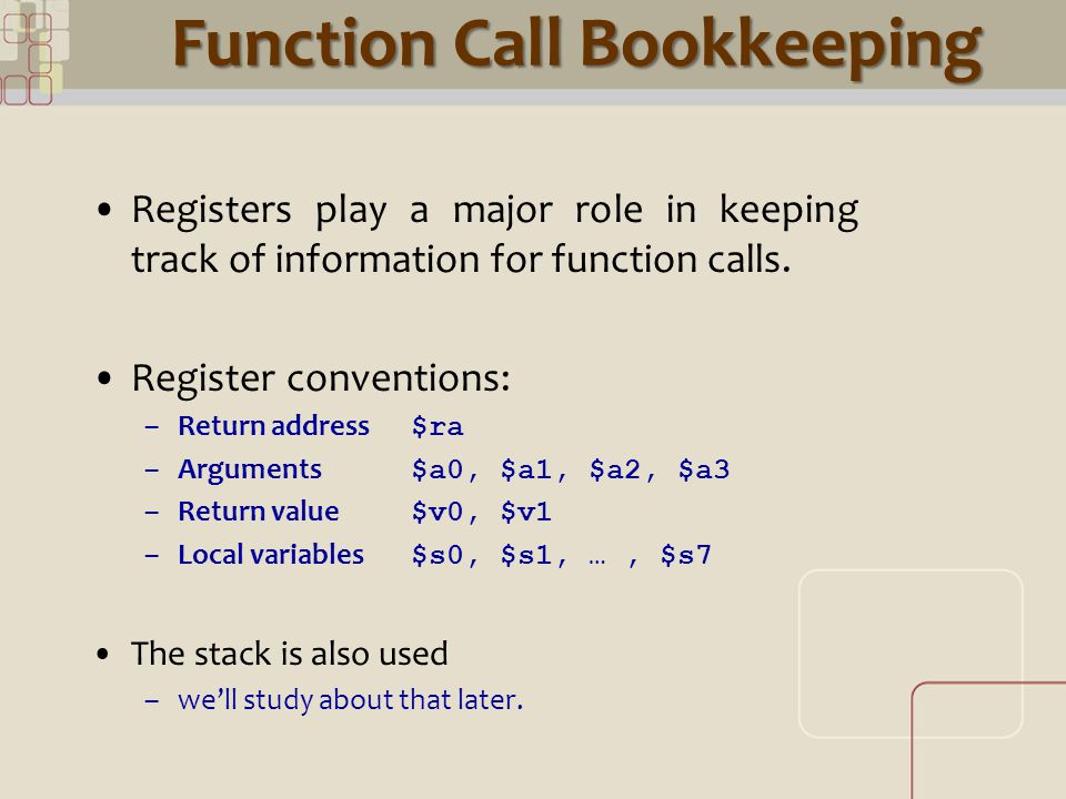 CML Function Call Bookkeeping Registers play a major role in keeping track of information for function calls.
