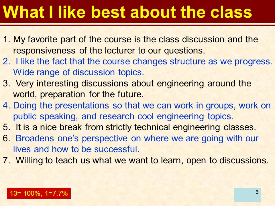 6 What I like best about the class 8.