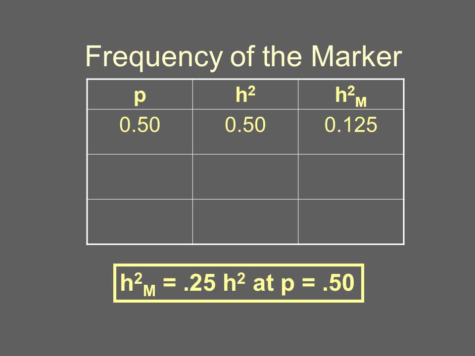 Frequency of the Marker ph2h2 h2Mh2M 0.50 0.125 h 2 M =.25 h 2 at p =.50