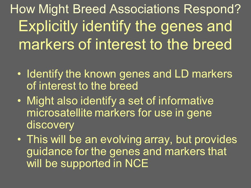 How Might Breed Associations Respond.