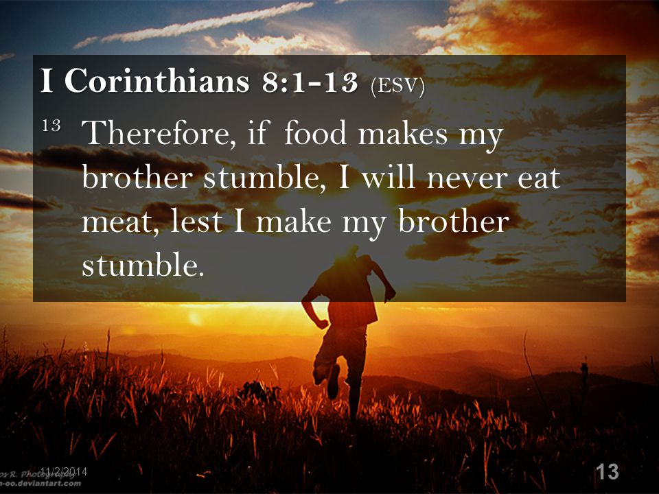 I Corinthians 8:1-13 (ESV) 13 13 Therefore, if food makes my brother stumble, I will never eat meat, lest I make my brother stumble. 11/2/2014 13