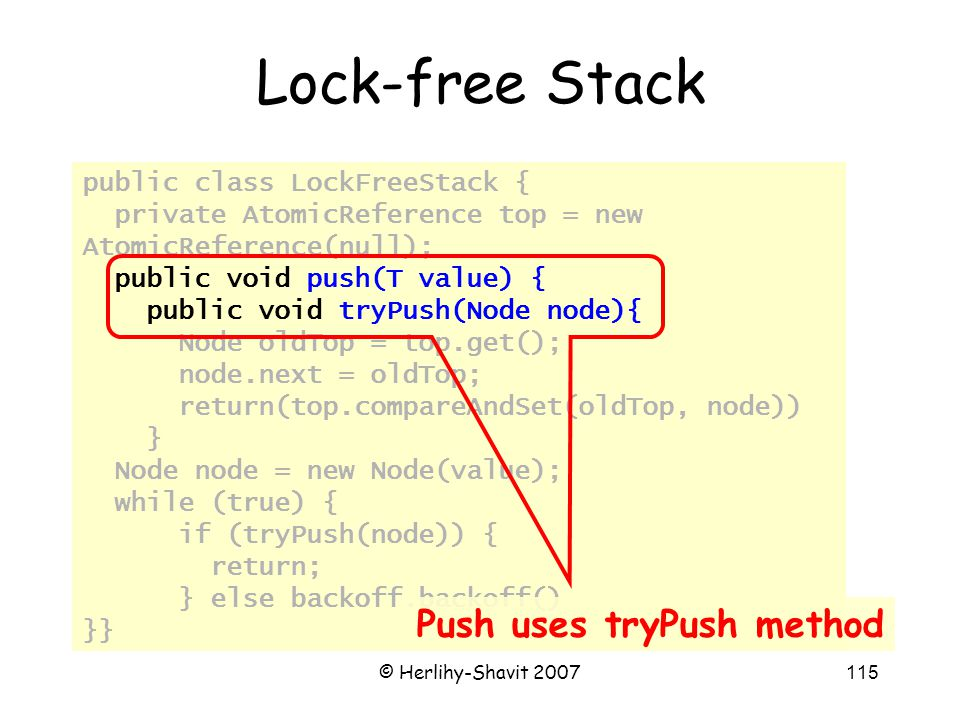 © Herlihy-Shavit 2007115 public class LockFreeStack { private AtomicReference top = new AtomicReference(null); public void push(T value) { public void tryPush(Node node){ Node oldTop = top.get(); node.next = oldTop; return(top.compareAndSet(oldTop, node)) } Node node = new Node(value); while (true) { if (tryPush(node)) { return; } else backoff.backoff() }} Lock-free Stack Push uses tryPush method