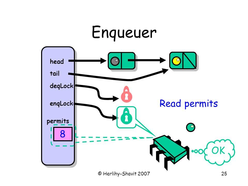 © Herlihy-Shavit 200725 Enqueuer head tail deqLock enqLock permits 8 Read permits OK