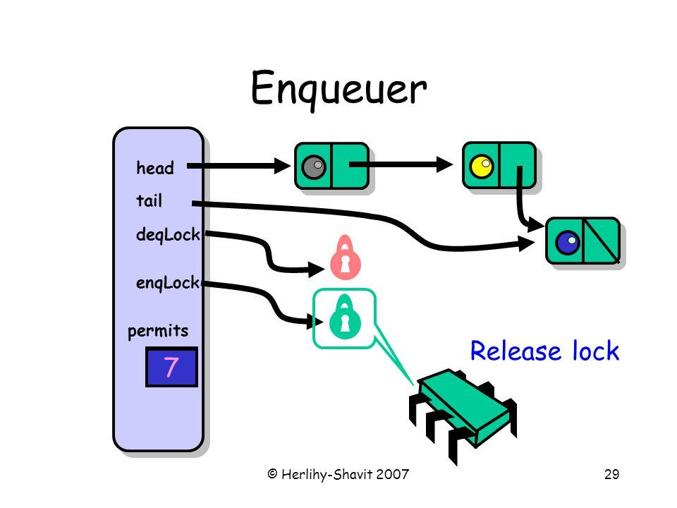 © Herlihy-Shavit 200729 Enqueuer head tail deqLock enqLock permits 8 Release lock 7