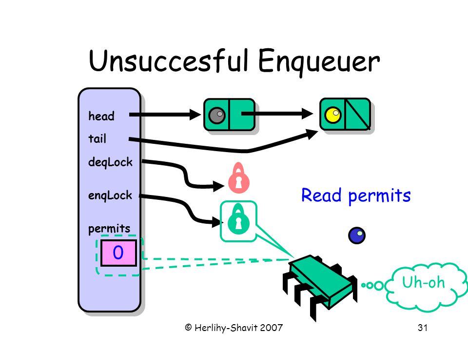 © Herlihy-Shavit 200731 Unsuccesful Enqueuer head tail deqLock enqLock permits 0 Uh-oh Read permits
