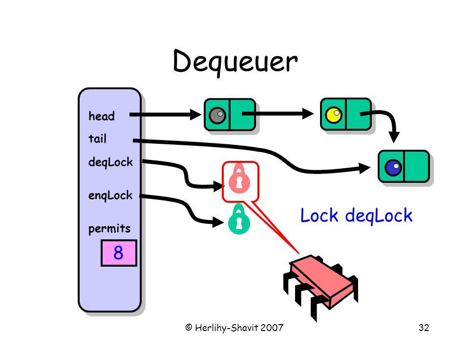 © Herlihy-Shavit 200732 Dequeuer head tail deqLock enqLock permits 8 Lock deqLock