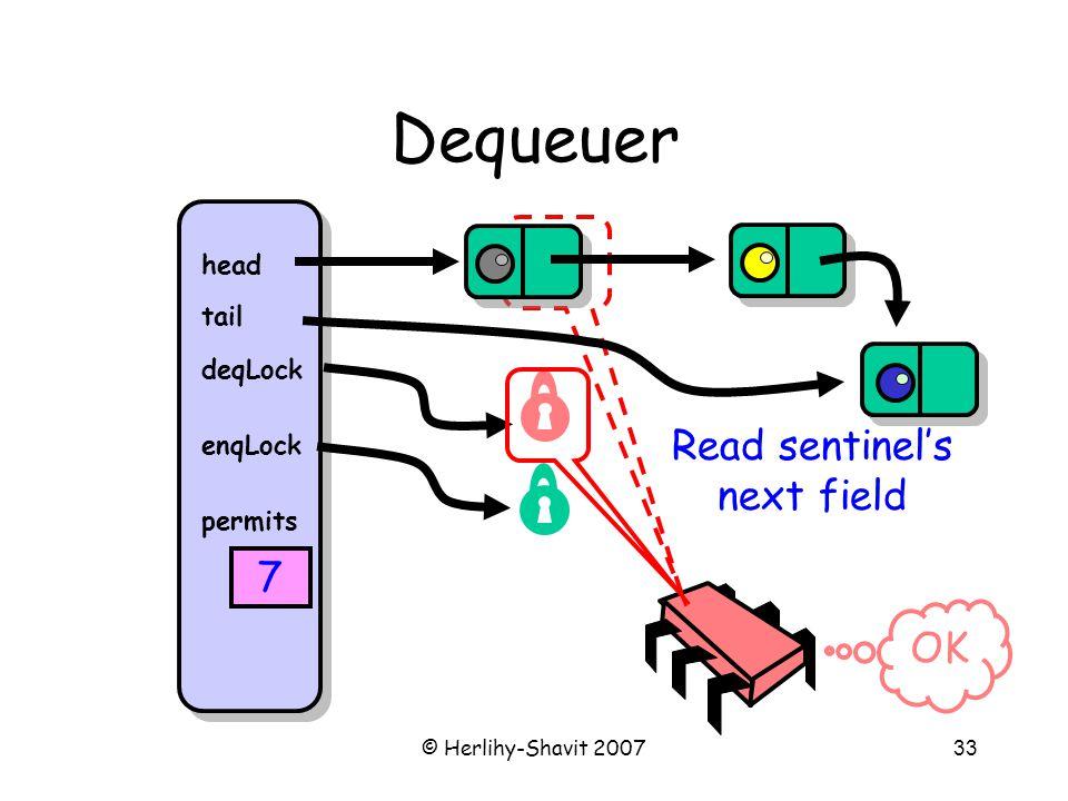© Herlihy-Shavit 200733 Dequeuer head tail deqLock enqLock permits 7 Read sentinel's next field OK