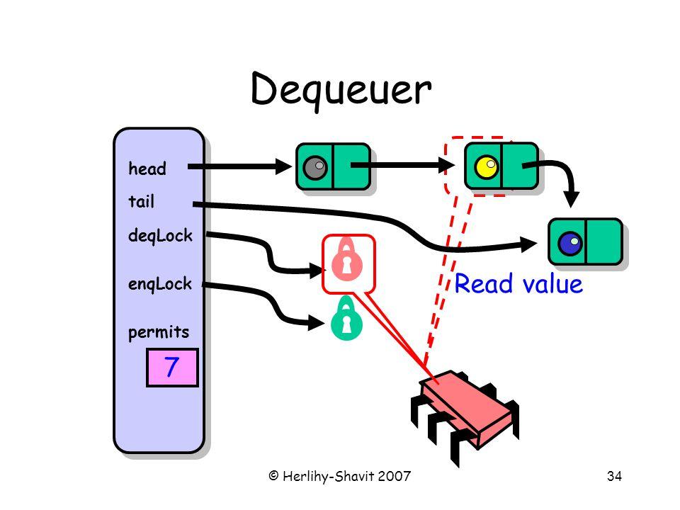 © Herlihy-Shavit 200734 Dequeuer head tail deqLock enqLock permits 7 Read value