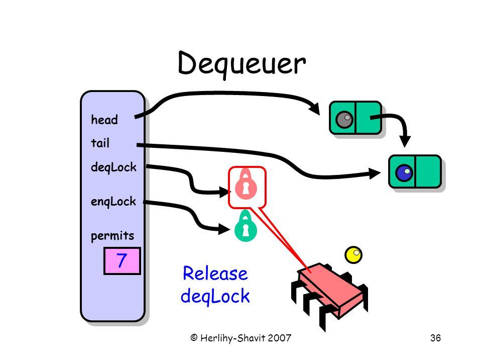 © Herlihy-Shavit 200736 Dequeuer head tail deqLock enqLock permits 7 Release deqLock