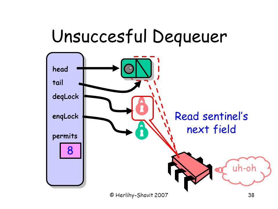 © Herlihy-Shavit 200738 Unsuccesful Dequeuer head tail deqLock enqLock permits 8 Read sentinel's next field uh-oh