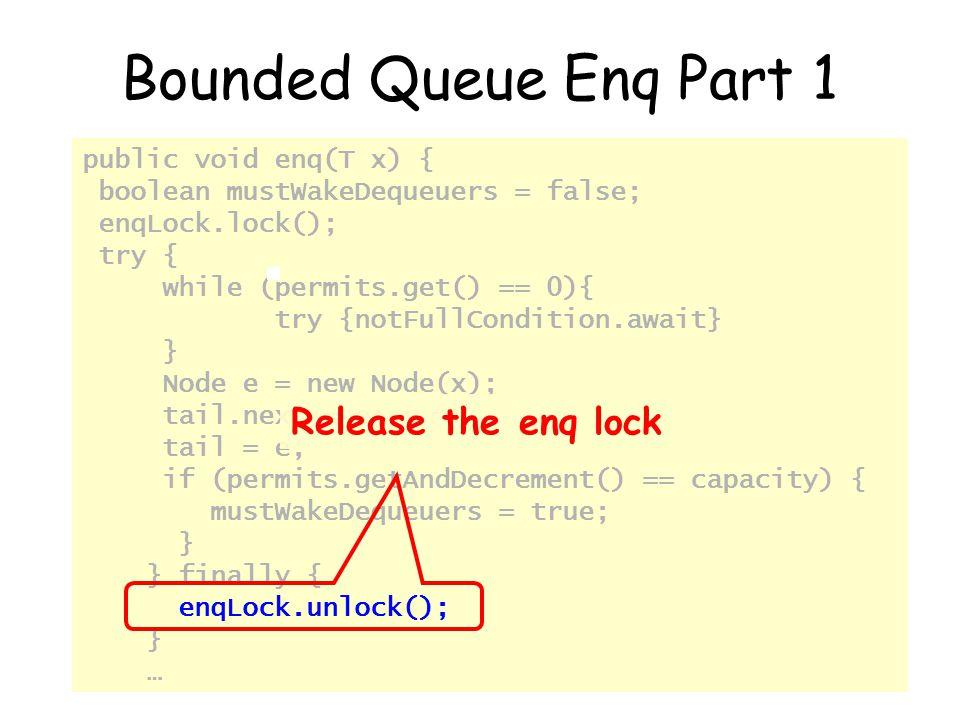 © Herlihy-Shavit 200767 public void enq(T x) { boolean mustWakeDequeuers = false; enqLock.lock(); try { while (permits.get() == 0){ try {notFullCondit