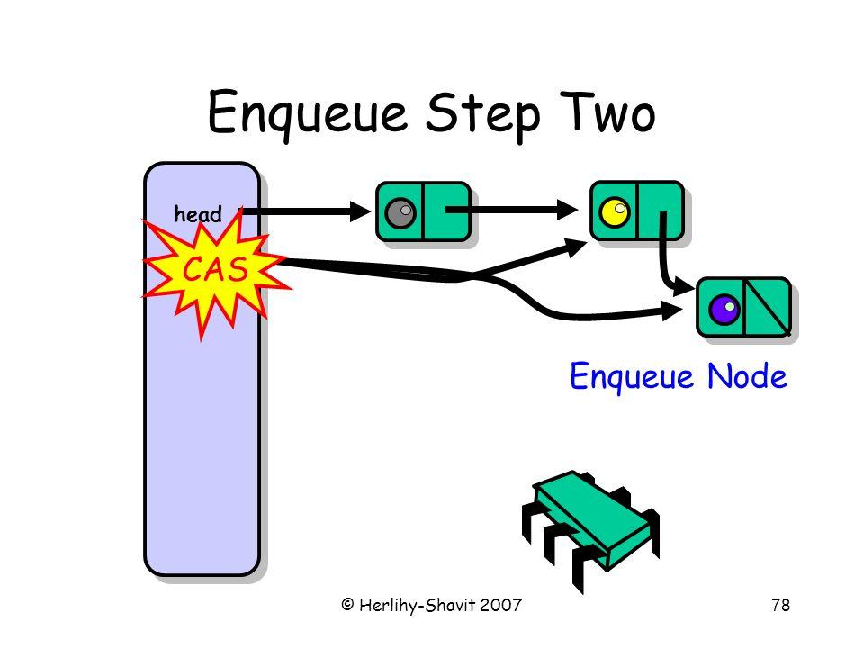 © Herlihy-Shavit 200778 Enqueue Step Two head tail Enqueue Node CAS