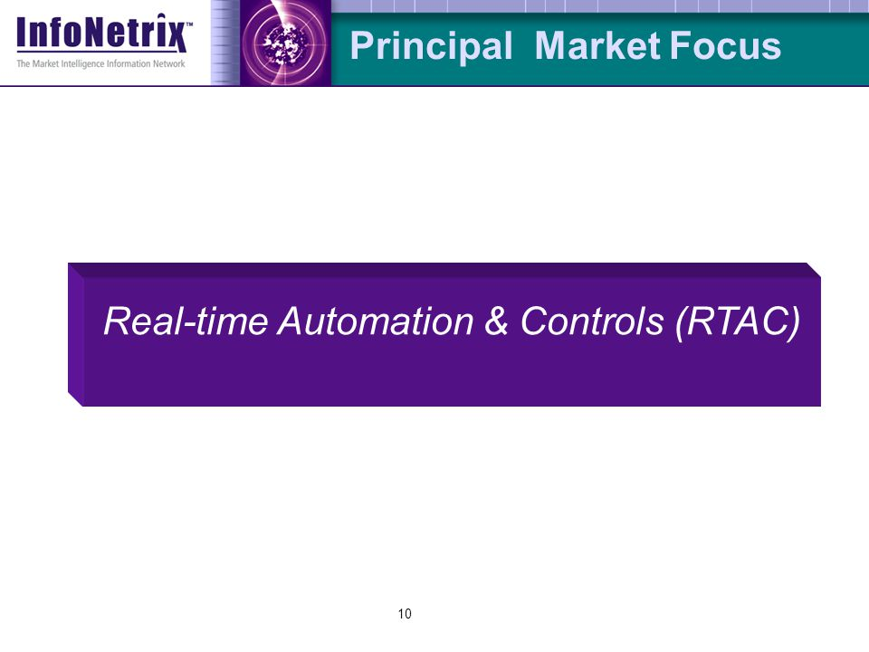 10 Principal Market Focus Real-time Automation & Controls (RTAC)