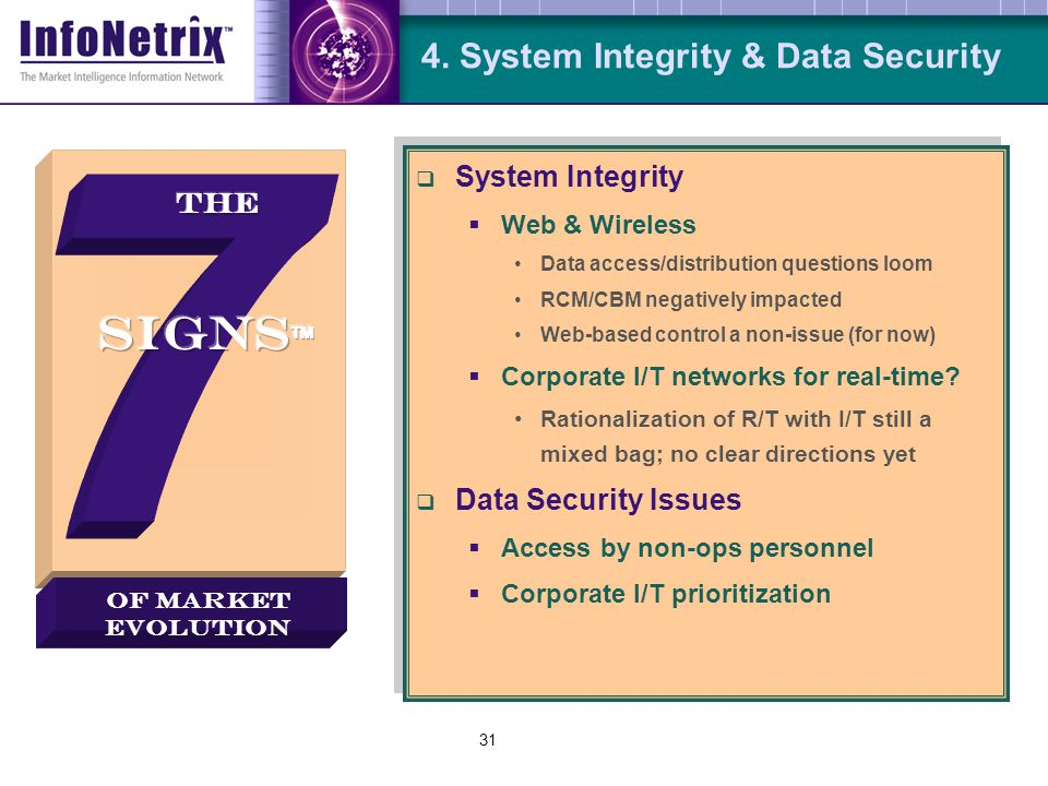 31 4. System Integrity & Data Security  System Integrity  Web & Wireless Data access/distribution questions loom RCM/CBM negatively impacted Web-bas