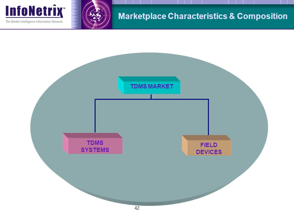 42 Marketplace Characteristics & Composition FIELD DEVICES TDMS SYSTEMS TDMS MARKET