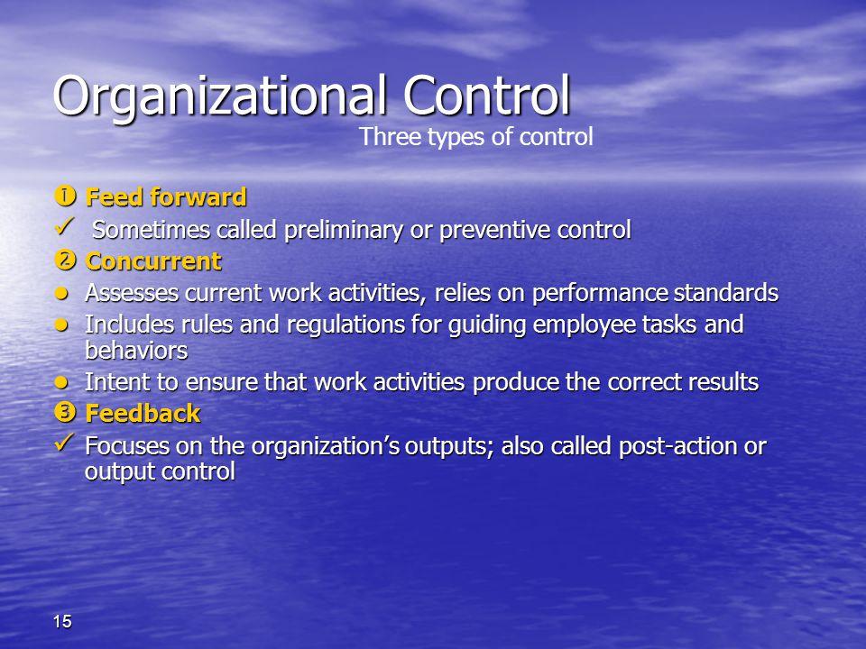 15 Organizational Control  Feed forward Sometimes called preliminary or preventive control Sometimes called preliminary or preventive control  Concu