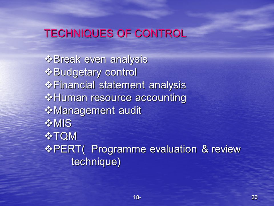 18-20 TECHNIQUES OF CONTROL  Break even analysis  Budgetary control  Financial statement analysis  Human resource accounting  Management audit 