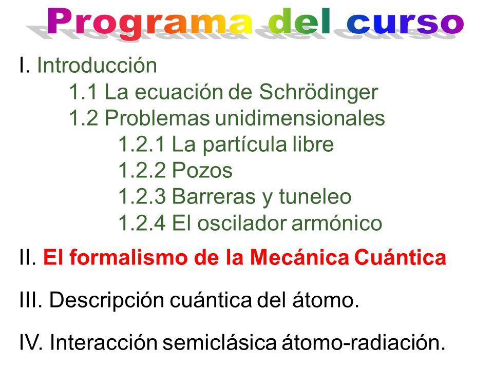 I. Introducción 1.1 La ecuación de Schrödinger 1.2 Problemas unidimensionales 1.2.1 La partícula libre 1.2.2 Pozos 1.2.3 Barreras y tuneleo 1.2.4 El o
