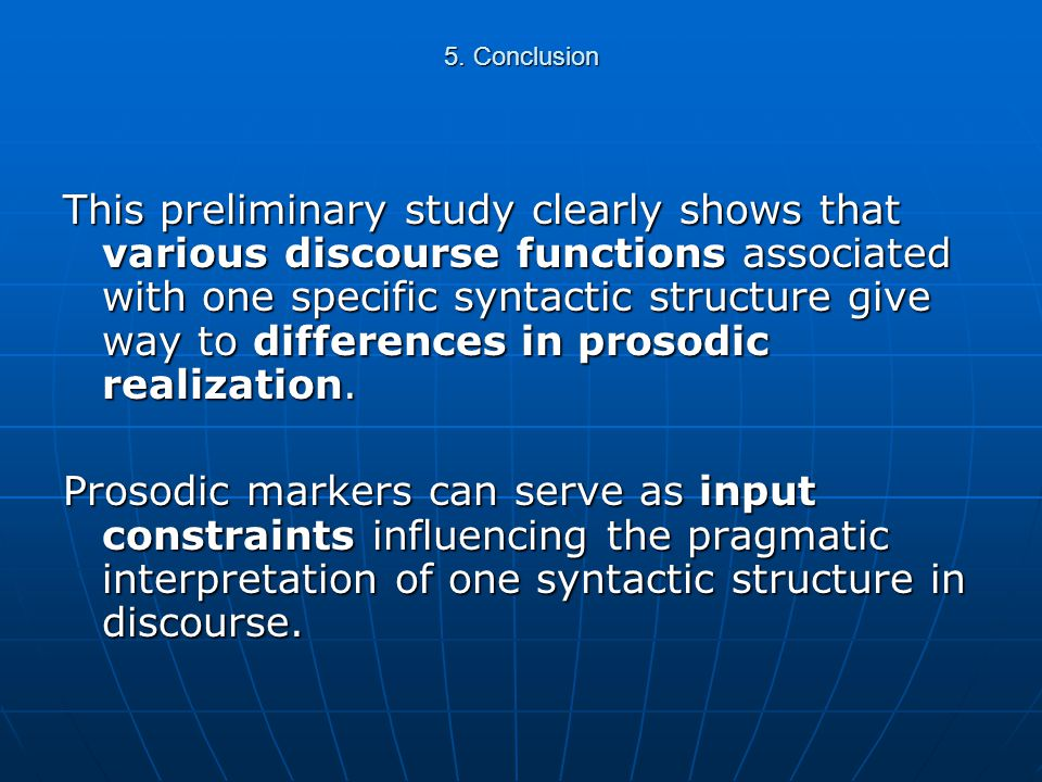 4. Discussion Clear-cut differences in speech rates, however, cannot be analysed in terms of discourse functions : influence of a syntactic parameter