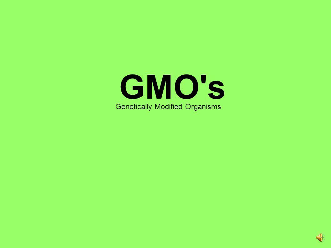 GMO s Genetically Modified Organisms