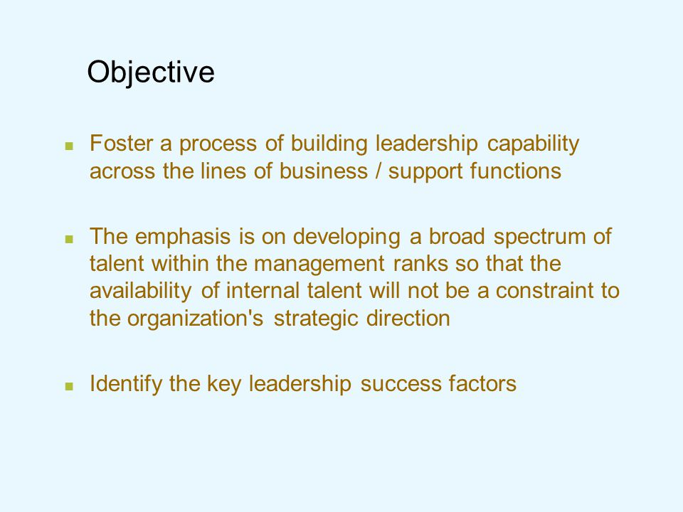 Outcomes Retention and development of high potential employees Builds internal staff capabilities (bench strength) for the emerging organizational demands Maps various succession options Facilitates developmental moves across the organization Establishes a professionally managed organization with the systems in place to ensure that it will have effective leaders going forward