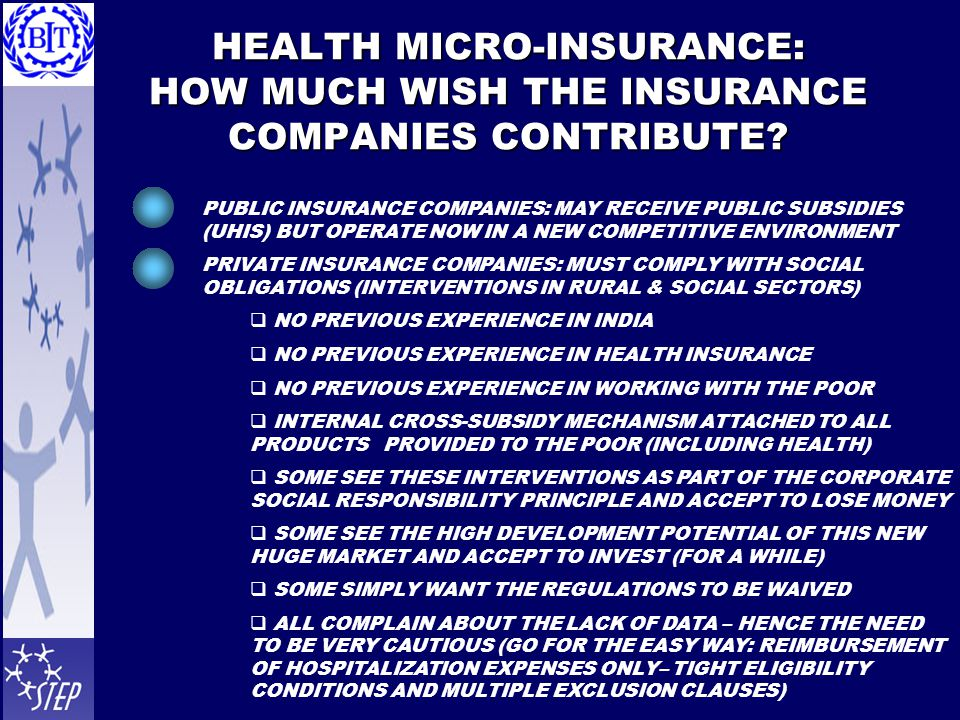 HEALTH MICRO-INSURANCE: HOW MUCH WISH THE INSURANCE COMPANIES CONTRIBUTE.